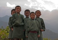 Bhutan Boys In The Mountains